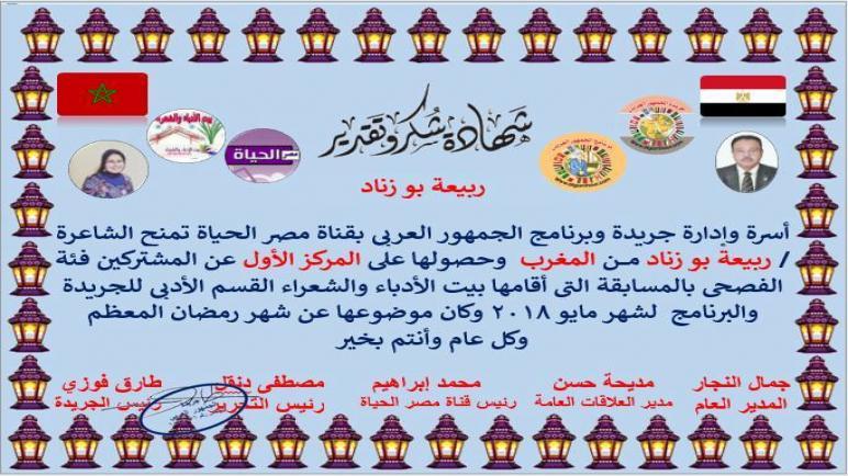 الجائزة الأولى للشاعرة ربيعة بوزناد في شهر رمضان المبارك ،